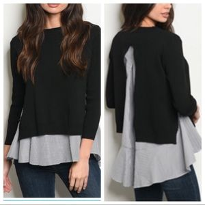 Tops - Black with striped shirt top